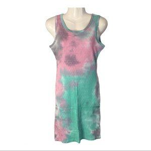 Doll Kill Minty Sun Burst Tie Dye Mini Dress